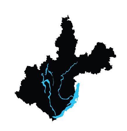 oblast: Irkutsk Oblast vector map isolated on white background. High detailed silhouette illustration. Russia oblast map illustration. Irkutskaya oblast map. Illustration