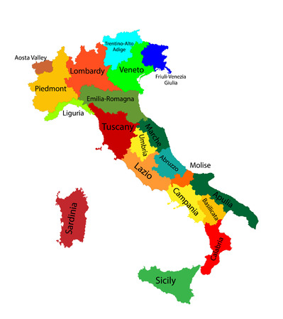 Editable colorful vector map of Italy. Vector map of Italy isolated on background. High detailed. Autonomous communities of Italy. Administrative divisions of Italy, separated provinces. outline map. Illustration