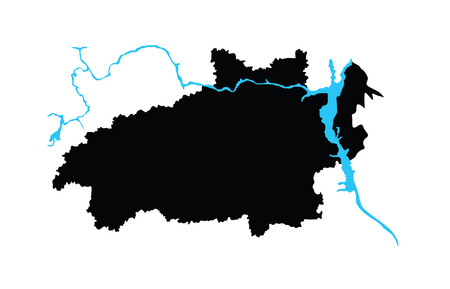 oblast: Ivanovo Oblast vector map isolated on white background. High detailed silhouette illustration. Russia oblast map illustration. Ivanovskaya oblast map.