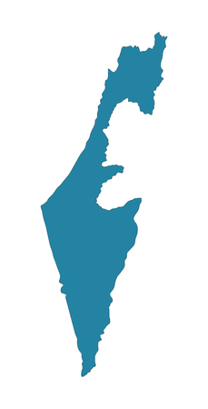 Israel vector map high detailed silhouette illustration isolated on white background.