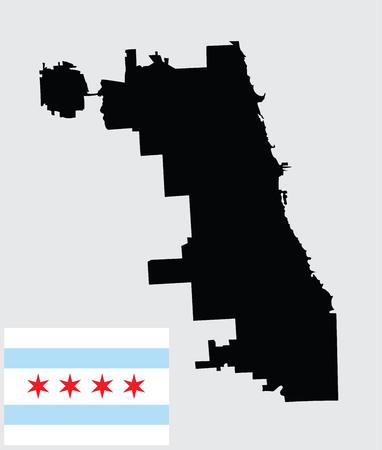 シカゴ都市地図ベクトル マップ、白い背景で隔離。高詳細なシルエットのイラスト。元の公式色と割合正しくフラグ分離ベクトル シカゴ市の旗。
