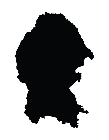guadalajara: Coahuila, Mexico, vector map isolated on white background. High detailed silhouette illustration.