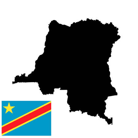 Democratic republic of the Congo vector map high detailed silhouette illustration isolated on white background.  Democratic republic of the Congo vector flag isolated.