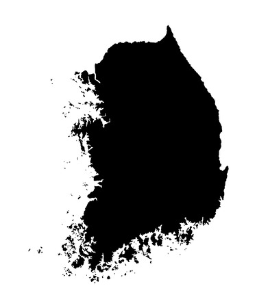 South Korea vector map high detailed silhouette illustration isolated on white background.