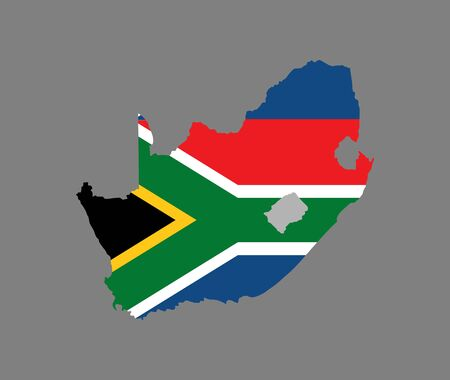 South Africa vector map silhouette filled with flag isolated on gray background. High detailed silhouette illustration. Country in South Africa. Ilustração Vetorial