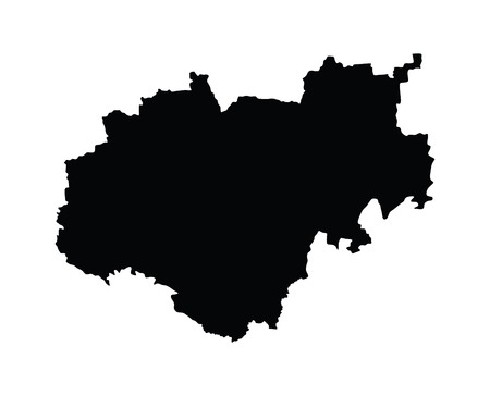 oblast: Kabardino-Balkaria map, vector map isolated on white background. High detailed silhouette illustration. Russia oblast map illustration.kaluskaya oblast map.