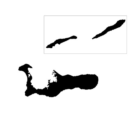 Cayman Islands, vector map isolated on white background. High detailed silhouette illustration. Stock Illustratie