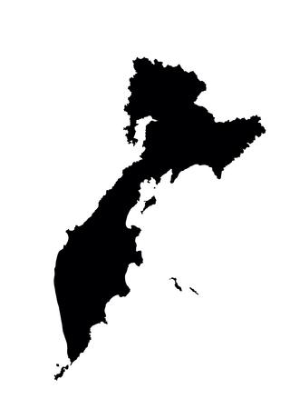 stalin: Kamchatka Krai vector map, isolated on white background. High detailed silhouette illustration. Russia oblast map illustration.