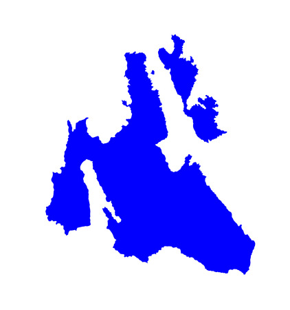 Island of Cephalonia in Greece vector map high detailed silhouette illustration isolated on blue background. Ithaki, Ithaca island near the Kefalonia.