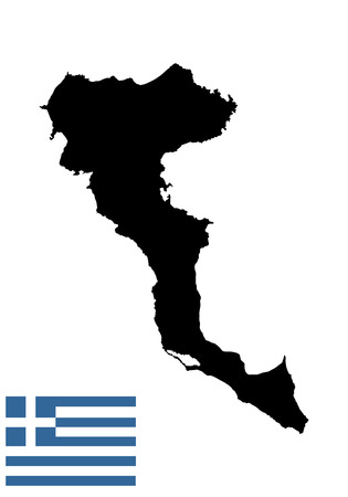 aegean: Island of Corfu in Greece vector map high detailed silhouette illustration isolated on white background.