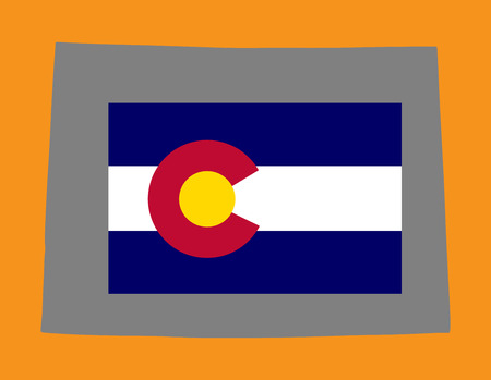 colorado mountains: Colorado vector flag on vector map isolated over background