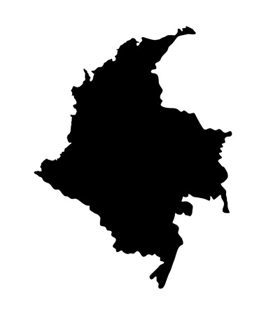 republic of colombia: Republic of Colombia vector map isolated on white background. High detailed silhouette illustration.
