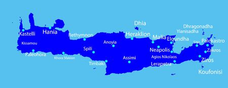 Island of Crete in Greece vector map silhouette on blue background. Crete map silhouette.