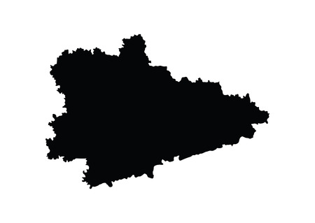 oblast: Kurgan Oblast vector map isolated on white background. High detailed silhouette illustration. Russia oblast map illustration. Kurganskaya oblast map.