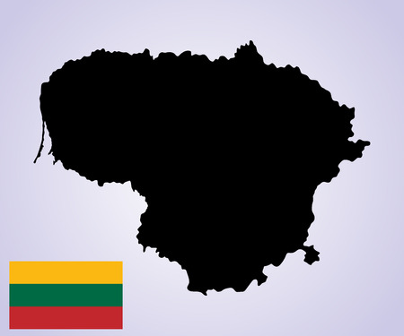 cartographer: Lithuania vector map and vector flag isolated on  background silhouette. High detailed illustration.