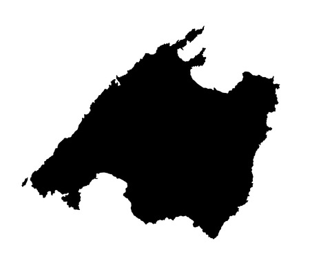 majorca: Vector map of Mallorca, high detailed black silhouette illustration isolated on white background.