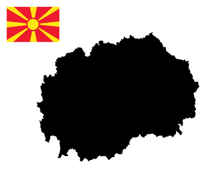 lake district: Macedonia vector map and flag isolated on white background. High detailed silhouette illustration.