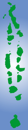 atoll: Republic of the Maldives vector map isolated on sea background silhouette. High detailed illustration. Illustration