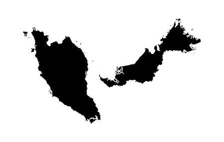 Malaysia vector map isolated on white background silhouette. High detailed illustration. Vettoriali