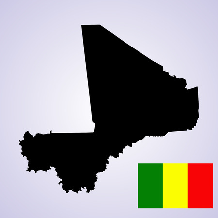 mauritania: Republic of Mali vector map and vector flag isolated on white background silhouette. High detailed illustration.