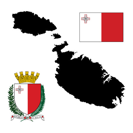maltese map: Malta vector map isolated on white background. Malta coat of arms, seal, national emblem, isolated on white background. Vector flag of Malta in official colors and Proportion Correctly.  Malta coat of arm or crest.