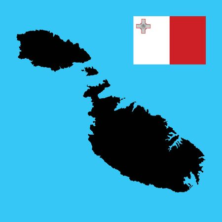 Malta vector map silhouette isolated on blue background. High detailed illustration. Malta flag vector. original and simple Malta flag isolated vector in official colors and Proportion Correctly .