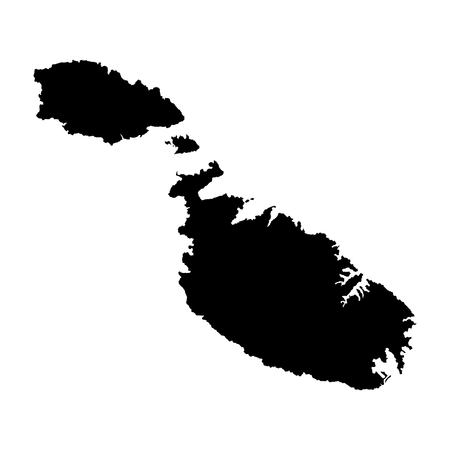 map malta: Malta vector map isolated on white background. High detailed silhouette illustration.