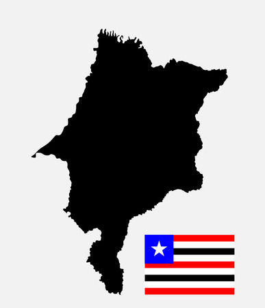 northeast: Maranhao, Brazil, vector map and flag isolated on white background. High detailed silhouette illustration. Original Maranhao flag isolated vector in official colors and Proportion Correctly
