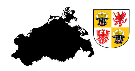 correctly: Great coat of arms of Mecklenburg-Western Pomerania, vector in official colors and Proportion Correctly, illustration. Mecklenburg Vorpommern vector map, high detailed silhouette illustration.