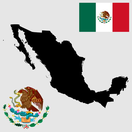 homeland: Vector map and flag of Mexico. Mexico coat of arms, seal, national emblem, isolated on background. Vector Coat of arms of Mexico, Original and simple Mexico coat of arms in official proportion.