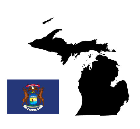 detroit: Michigan vector map isolated on white background. High detailed silhouette illustration. Michigan State Flag vector, united states. Illustration