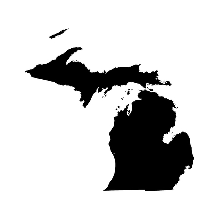 Michigan vector map isolated on white background. High detailed silhouette illustration.