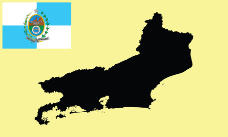 bay area: Rio De Janeiro, Brazil, vector map isolated on background. High detailed silhouette illustration. Rio de Janeiro State Flag, original and simple Rio De Janeiro flag isolated vector in official color