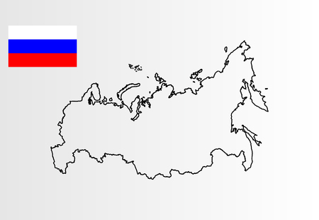 Russian vector map and vector flag isolated on gray background.Russia vector high detailed silhouette illustration.