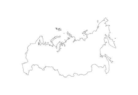 cray: Russian vector map isolated on white background. Russia vector high detailed illustration. Outlined, contour. Illustration