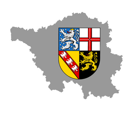 Coat of arms of Saarland state, Germany, vector illustration isolated Saarland map vector high detailed black silhouette illustration isolated on white background. Province in Germany.