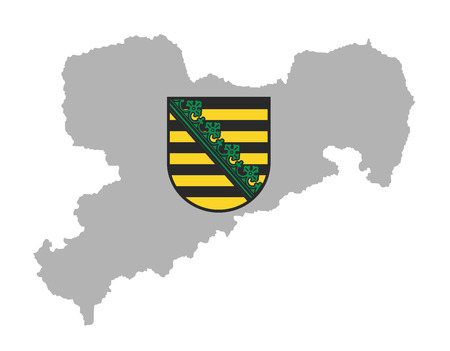 Coat of arms of Saxony, Original and simple flag isolated vector in official colors and Proportion Correctly. Sachsen map, Saxony map, high detailed silhouette illustration. Province in Germany.