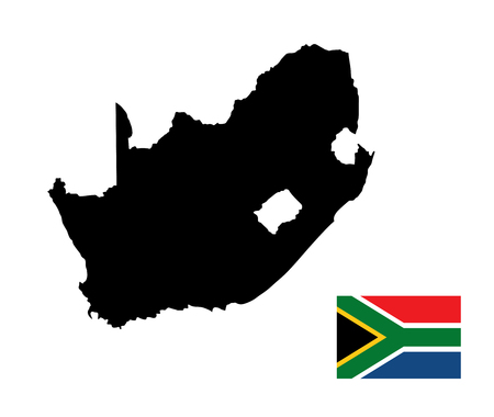 graphical chart: South Africa vector map and flag isolated on white background. High detailed silhouette illustration. South Africa vector flag.