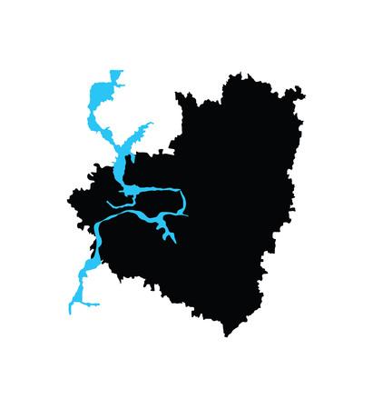 Samara oblast vector map isolated on white background. High detailed silhouette illustration. Russia oblast map illustration. Samarskaya oblast map.