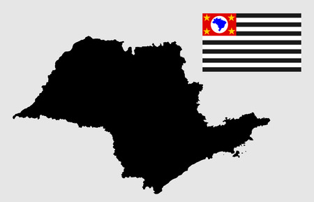 coastline: Sao Paulo, Brazil, vector map and flag isolated on white background. High detailed silhouette illustration.