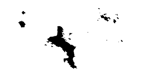 creole: Republic of Seychelles vector map high detailed silhouette illustration isolated on white background.