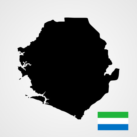 high sierra: Sierra Leone vector map and vector flag isolated on white background. High detailed illustration.