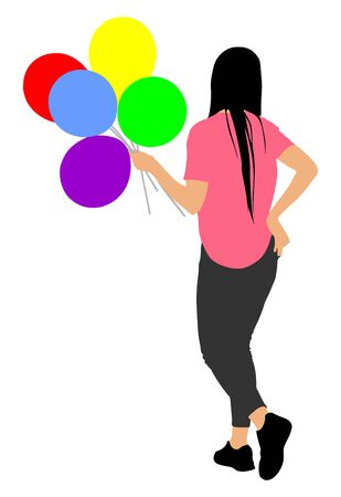 Girl with balloons vector illustration. Celebration event. Animator on childrens birthday with balloons. Promotion hostess on event. Illustration