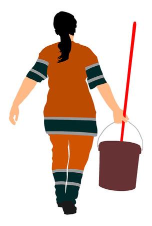 Dessinateur nettoyeur vecteur silhouette illustration Isolé sur fond blanc. Femme de ménage. Services de soin et de nettoyage du sol avec lavage de la vadrouille dans une usine stérile ou un hôpital propre. Service de nettoyage.
