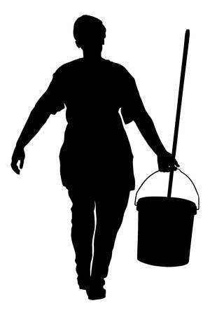 Cura dei pavimenti e servizi di pulizia con mop in fabbrica sterile o ospedale pulito. Illustrazione della siluetta di vettore di servizio della donna delle pulizie.
