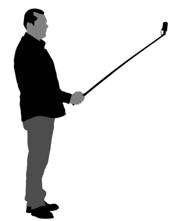 Man taking selfie picture vector silhouette illustration isolated on white background. taking selfie - hand hold monopod with mobile phone.  tourist boy with camera on travel vocation. Imagens - 128016395
