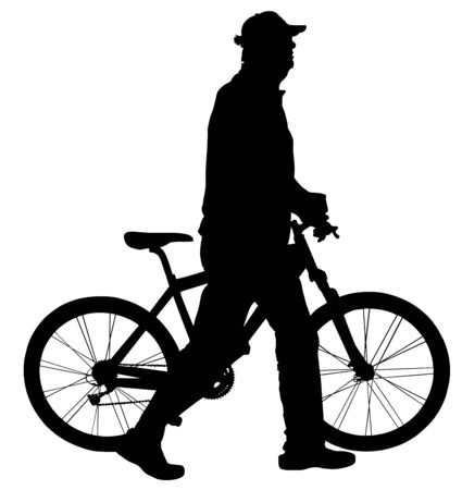 Senior gentleman pushing a bicycle in a park, vector silhouette illustration. Grandpa active life. Old man walking and resting of bicycle riding. Retail person spending quality time, health care.