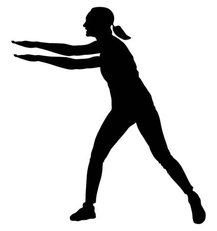 Fitness instructor training vector silhouette isolated on white background. Sport woman active in gym.  Athlete lady doing exercise. Warming up and workout activity. Vectores
