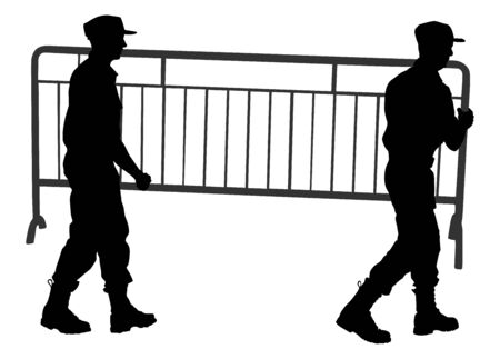 Construction workers carrying tools building material on hands vector  silhouette. Soldiers team work on border. Delivery service moving transport, workers carry vector. Handyman warehouse holding job