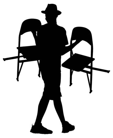 Delivery service moving transport, worker carrying chairs vector silhouette.  Handyman job. Distribution and procurement. Hipster boy moving after party. Move in.  Man carry chair after concert event